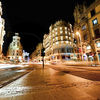 Gran Via at night in Madrid, Spain