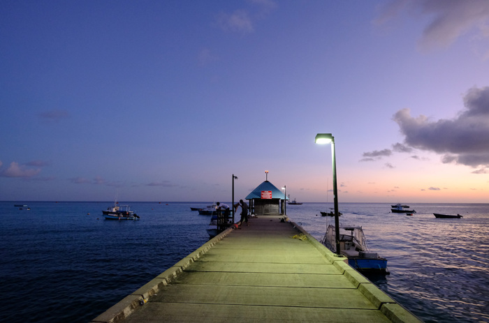 Pier at sunset in Barbados