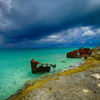 Shipwreck on Bimini Island in the Bahamas