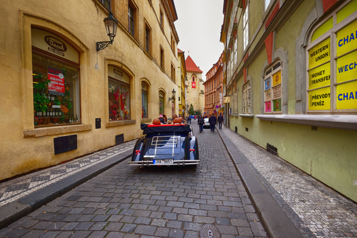 Riding through Prague
